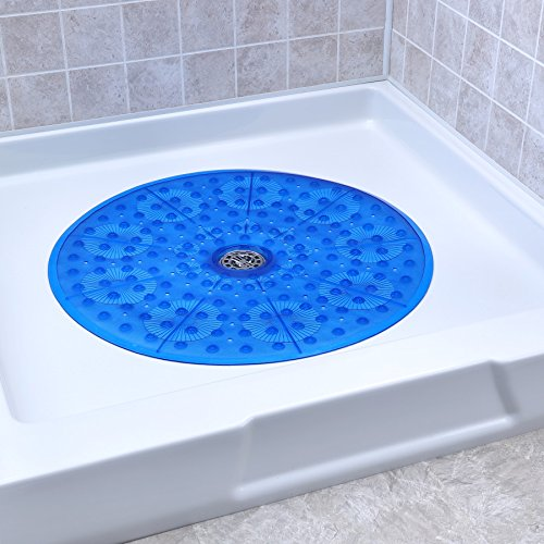 "SlipX Solutions Blue Round Shower Stall Mat Provides Generous Coverage & Reliable Slip-Resistance (23"" Sides, 160+ Suction Cups, Great Drainage)"
