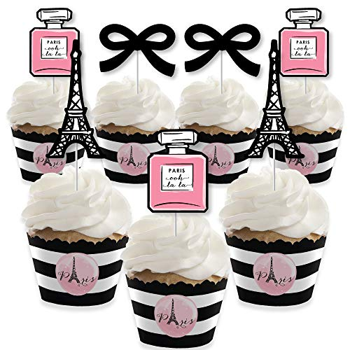 Paris, Ooh La La - Cupcake Decoration - Paris Themed Baby Shower or Birthday Party Cupcake Wrappers and Treat Picks Kit - Set of 24