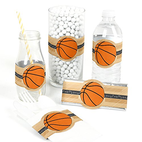 Nothin' But Net - Basketball - DIY Party Supplies - Baby Shower or Birthday Party DIY Wrapper Favors & Decorations - Set of 15
