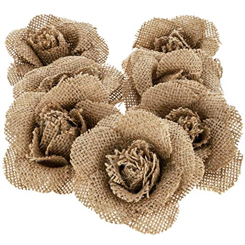 12-Pack Handmade Jute Burlap Rose Flowers for DIY Crafts, 3 Inches