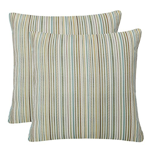 Pack of 2 Simpledecor Throw Pillow Covers Couch Pillow Shells,20X20 Inches,Jacquard Colorful Stripes,Multicolor Teal