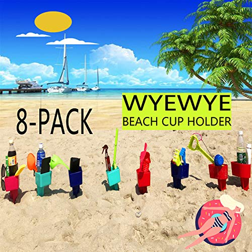 WYEWYE Beach Sand Cup Drink Holder,8 Pack Plastic Multifunction Beach Cup Holders for Storage Phone/Beverage/Beer/Sunglasses/Cup/Sunscreen/Trinkets etc.(Random Color)