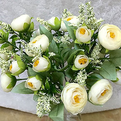 10 Heads 1 Bouquet Pretty Wedding Mini Rose Artificial Silk Flower bouquet Flores Bride Home Wedding Decoration Fake Peony Flowe - White by MartialQC