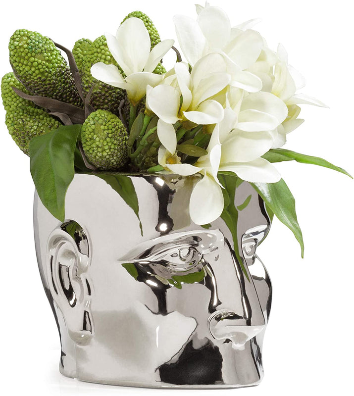 Torre & Tagus Face Vase, Small, Chrome