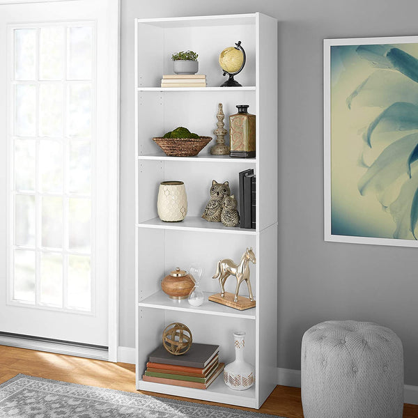 Mainstay Orion Wide 5-Shelf Bookcase White