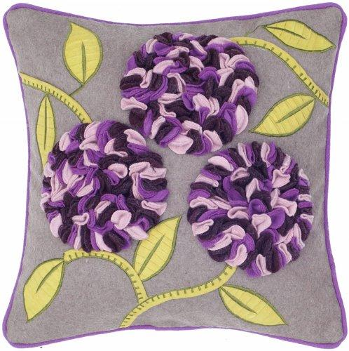 Rizzy Home T-4114 18-Inch By 18-Inch Decorative Pillows, Beige/Purple