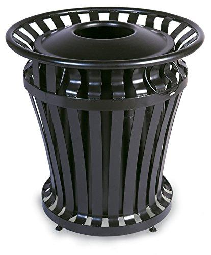 Rubbermaid Commercial Weatherguard Steel Trash Can With Rigid Plastic Liner, 32 Gallon, Black, Fg402100bla
