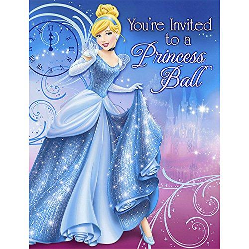 Disney\'s Cinderella Sparkle Party Invitations 8 Pack