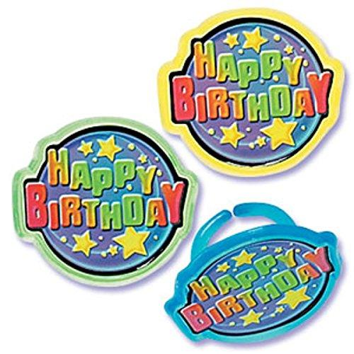 Oasis Supply BC HB-R Happy Birthday Jewel Rings, 12-Pack