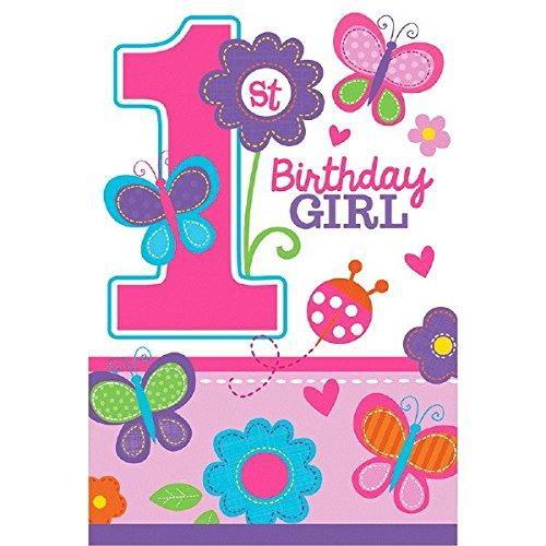 Flowers And Butterflies Girl\'s 1St Birthday Party Die-(No Suggestions) Postcard Invitations, Paper, 9.4 X 6.5, Pack Of 8