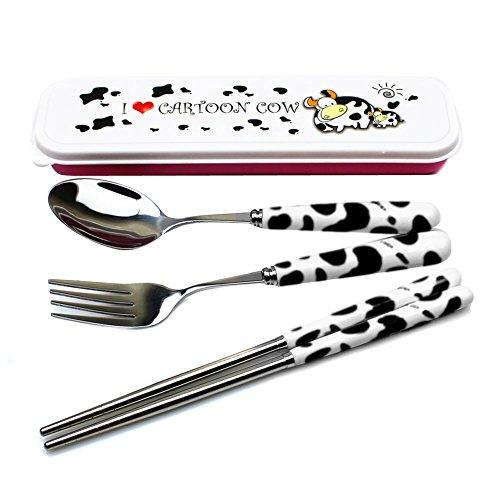 Sealike Cute Cow Ceramics Handle Stainless Steel Spoon Fork Chopsticks Set Of 3 With Stylus For Traveling Black