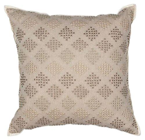 Kas Oriental Rugs Diamonds Cotton Linen Embroidered Pillow, 18 X 18, Taupe