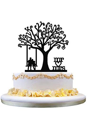 Wedding Cake Topper-Couple On The Swing,Mr & Mrs With A Heart