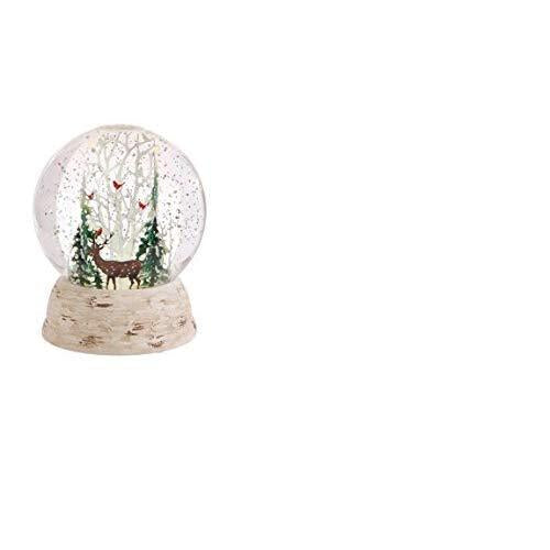 Raz Imports Deer and Cardinals in Winter Forest LED Lit Snow Globe Water Dome 6""