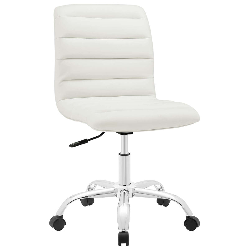 Ripple Armless Mid Back Vinyl Office Chair - White