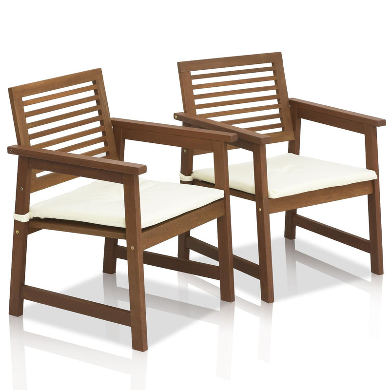 Furinno Tioman Teak Hardwood Outdoor Armchair with Cushion, Set of Two FG161249