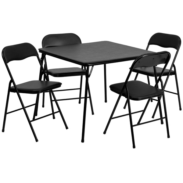 5 Piece Black Folding Card Table and Chair Set - JB-1-GG