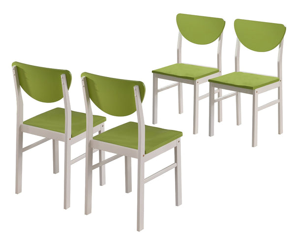 Pilaster Designs - Dining Room - Kitchen Wood Side Chair ~Set of 4 Chairs~ (White / Green)