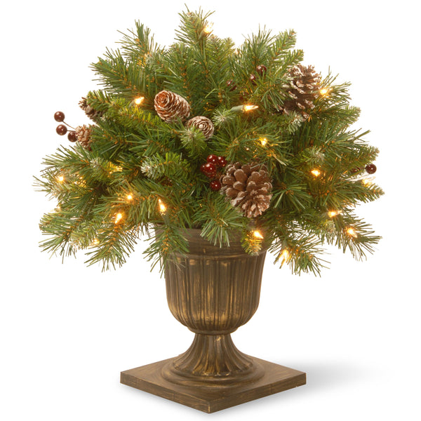 "18"" Frosted Berry Porch Bush with Cones & Red Berries in Dark Bronze Urn with 35 Clear Lights"