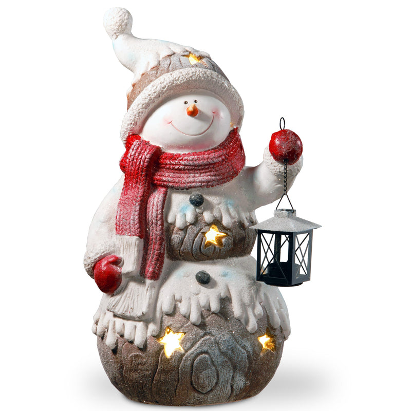 "21"" Snowman Holding Candle Lamtern Holder & White Battery LED Lights"