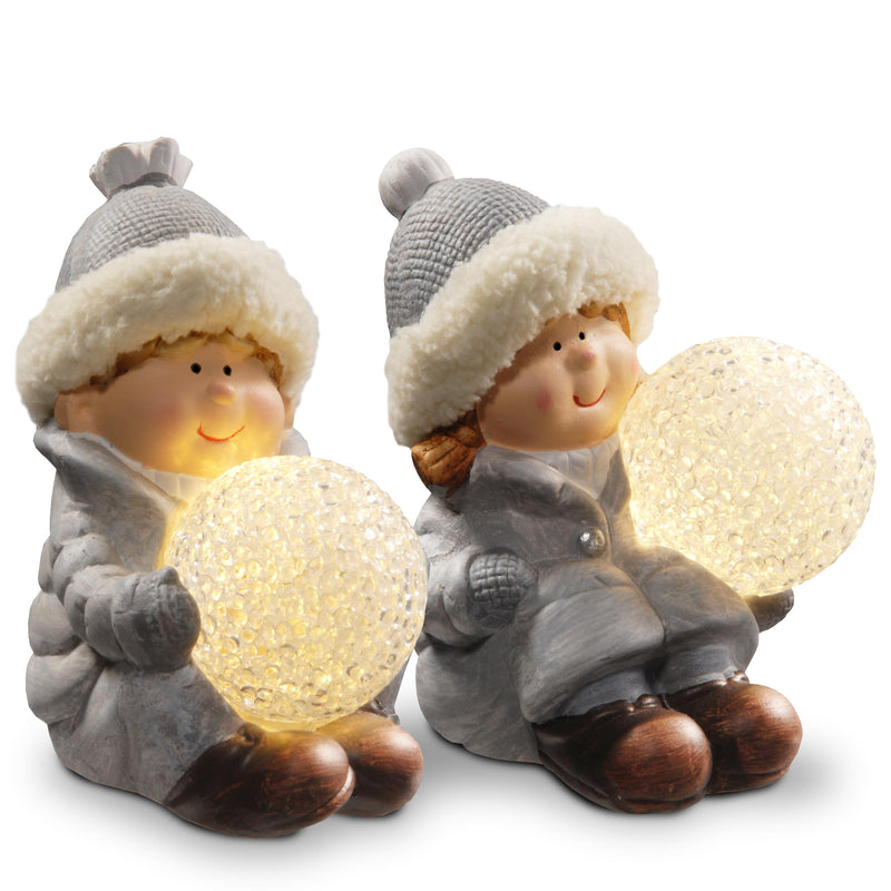 "5.5"" Boy & Girl Dcor Table Pieces with White BatteryLED Lights - Set of 2"