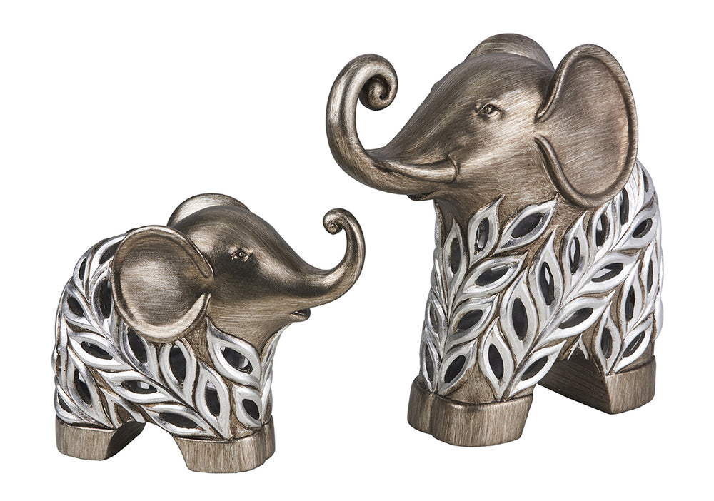 "2-Piece Polyresin Decorative Elephants Figurine ""Kiara"", Silver Peacock Feathers Design"