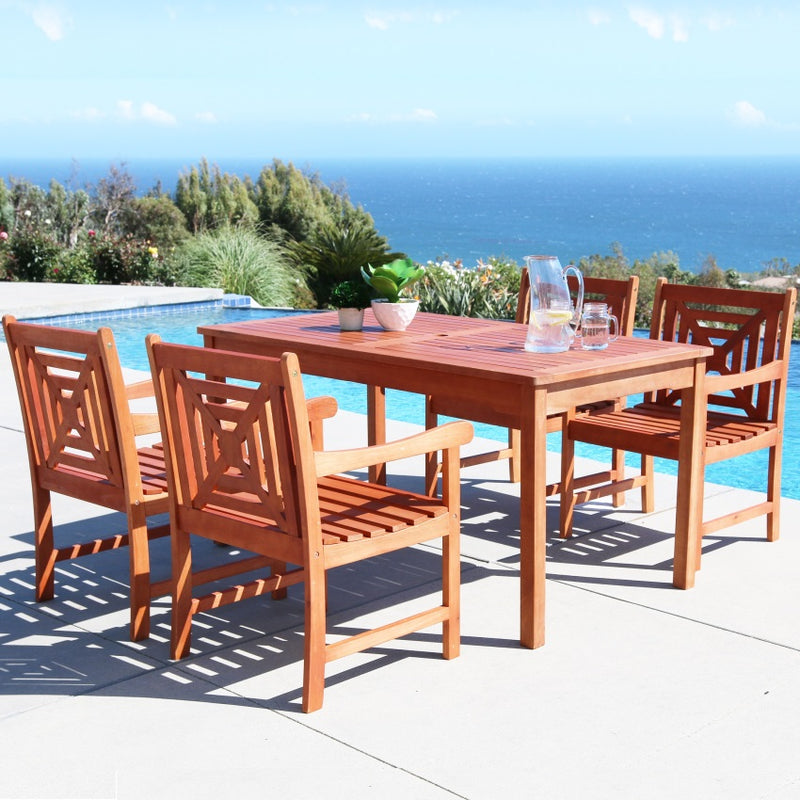 V98SET42 Malibu Eco-friendly 5-piece Outdoor Hardwood Dining Set with Rectangle Table and Arm Chairs
