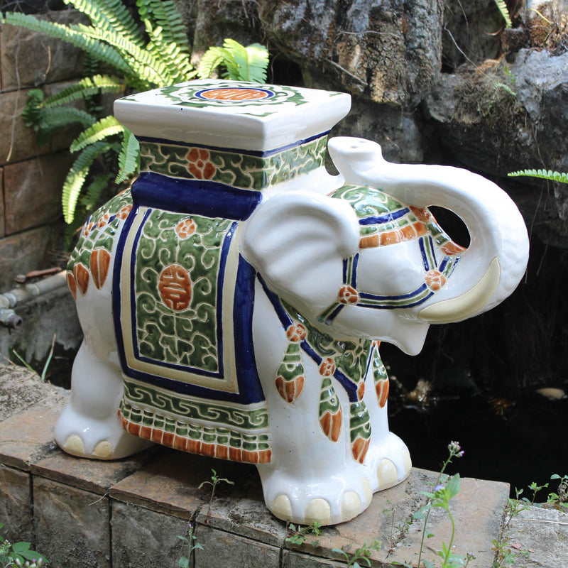 Large Porcelain Elephant Stool - White