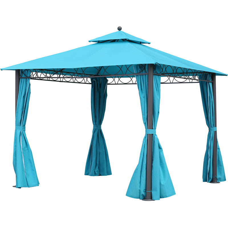 St. Kitts 10-foot Aluminum/ Polyester Double-vented and Drapes Square Gazebo - Dark Grey/Aqua Blue