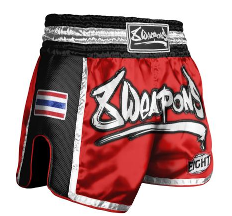 8 Weapon - Muay Thai Short SUPER MESH - ROT/SCHWARZ XL