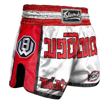 8 Weapon - Muay Thai Short CARBON - WHITE RED