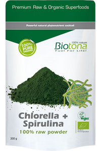 Biotona - Chlorella + Spirulina 100% Raw Powder – 200g