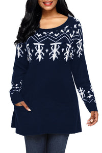 Navy A-line Casual Fit Christmas Sweater