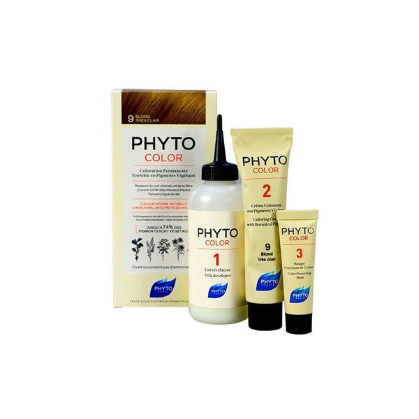 PhytoColor 7 Blond- Complete set containing a 50ml revealing milk, coloring cream 50ml, Phytocolor Mask 12 ml, an information leaflet and a pair of gloves.