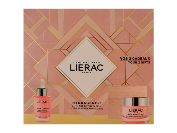 "COFFRET Lierac Hydragenist Hydration Serum + Anti-Aging Gel-Cream + Exclusive offer of a ""Rue Des Fleurs-Monaco"" card holder"