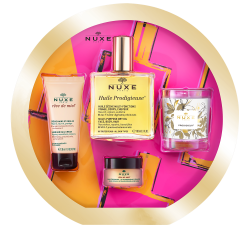 Nuxe Iconic Coffret Huile Prodigieuse containing Dry Oil 100ml + Reve de Miel Hand Cream + Lip Balm+ Candle