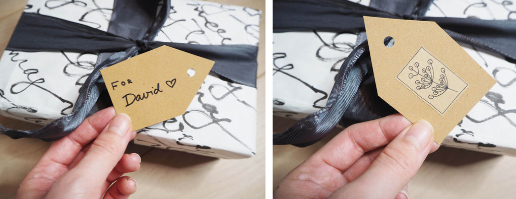 4 ideas for eco-friendly gift wrapping made out of old paper bags, DIY present name tags