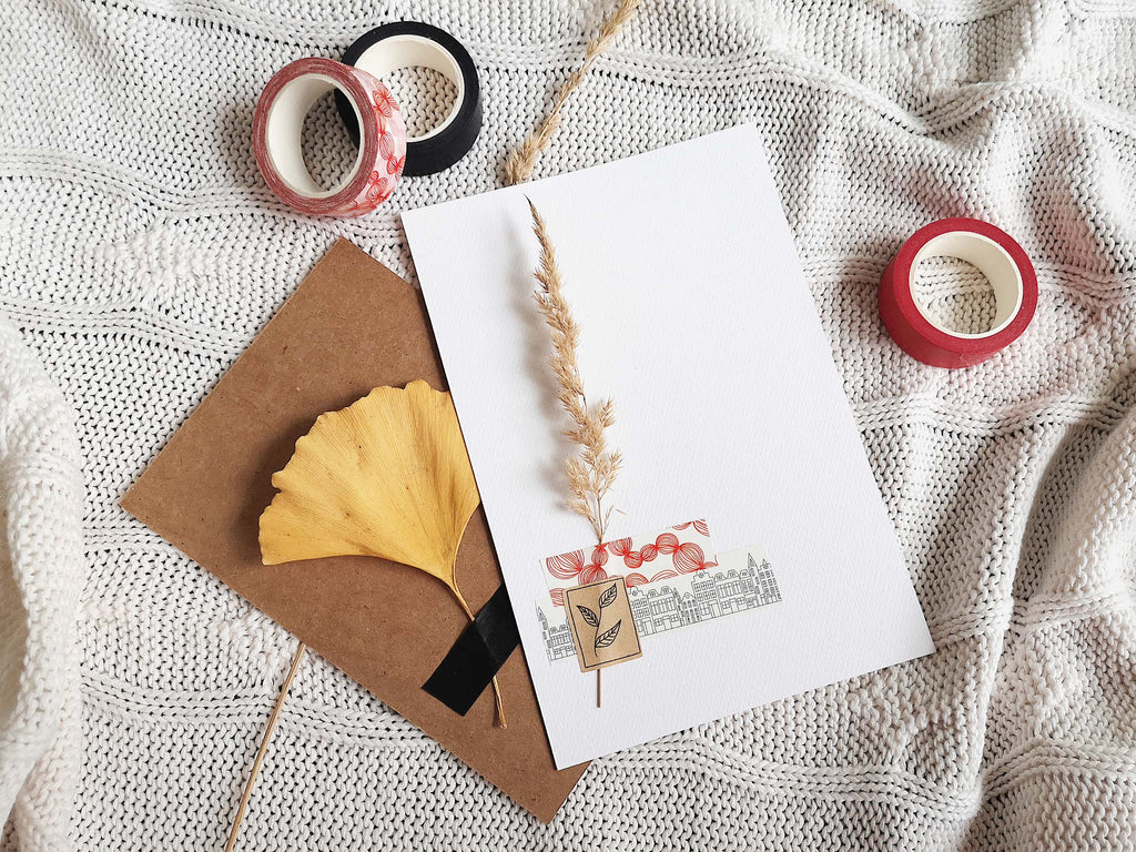 4 festive christmas card ideas made with washi tape and kraft paper stickers