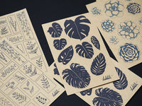 black and white kraft paper stickers plants succulents monstera leaves