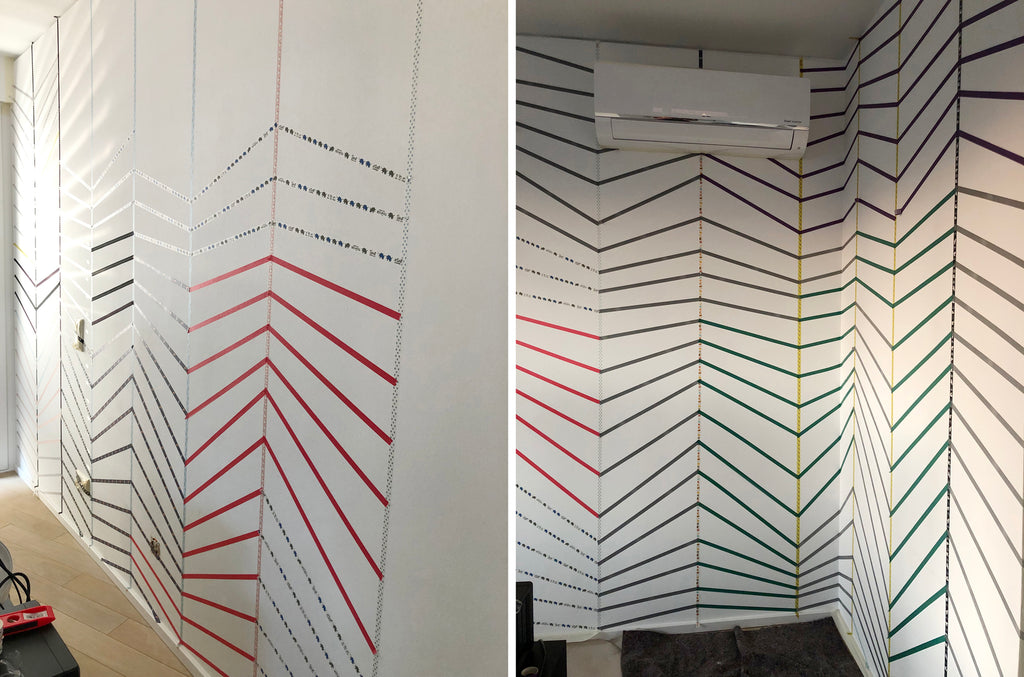 how to use washi tape in your home DIY accent wall
