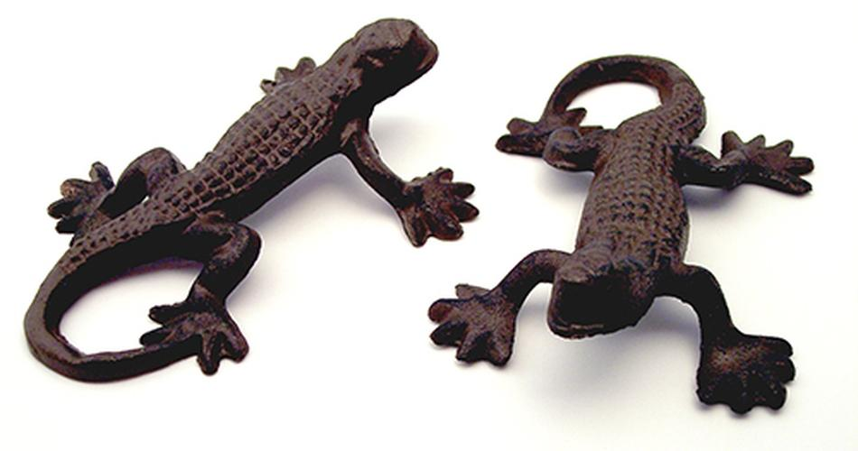Cast Iron Rust Gecko Lizards Set of 4