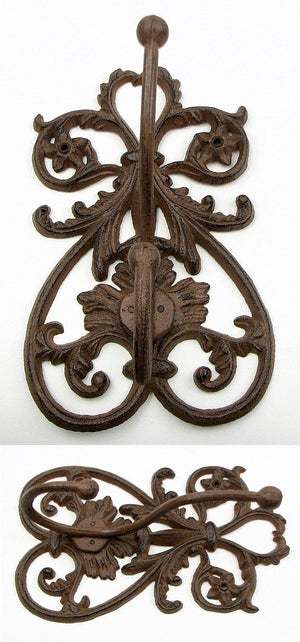 French Scroll Cast Iron Wall Double Hook