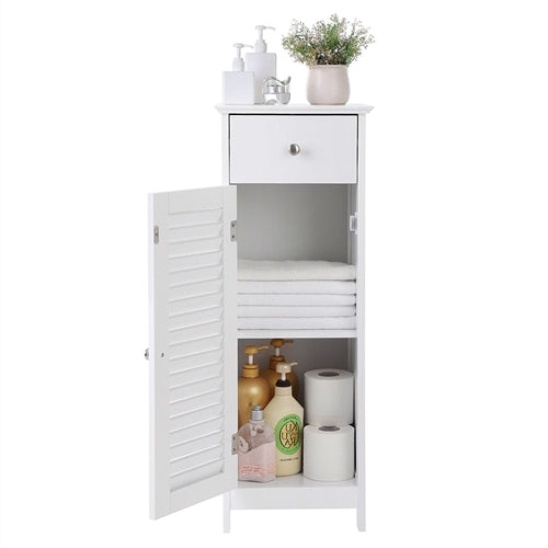 White Slim Bathroom Storage Floor Cabinet with Louver Door and Drawer