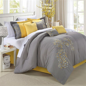 King size 8-Piece Modern Yellow Grey Floral Comforter Set