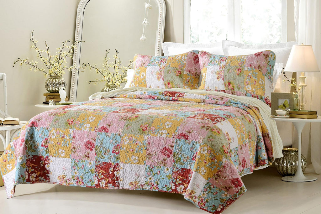 PRAIRIE MULTI COLOR PRINTED QUILT SET STYLE # 1003 - CHERRY HILL COLLECTION