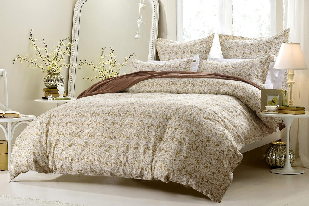 5PC TAUPE WHITE FLORAL PAISLEY DUVET COVER SET STYLE # 1030 - CHERRY HILL COLLECTION
