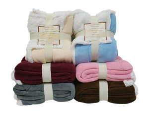 "REVERSIBLE SHERPA/ MICROPLUSH THROW BLANKET- 50""X 60""- MULTIPLE COLORS"