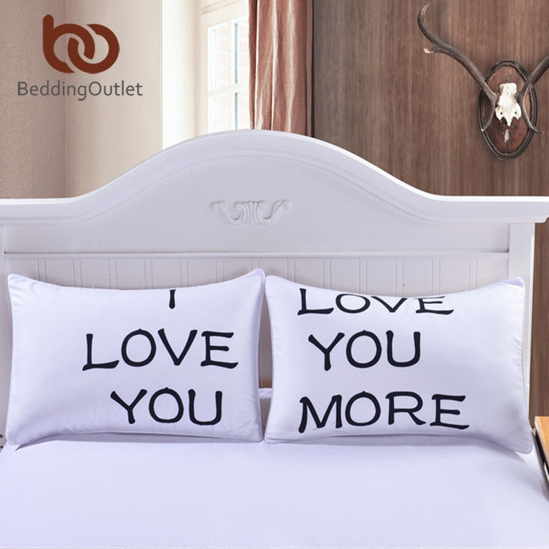 BeddingOutlet I LOVE YOU MORE Pillow Case Cover Pillow Christmas Romantic Anniversary Wedding Valentine's Gift for Him or Her