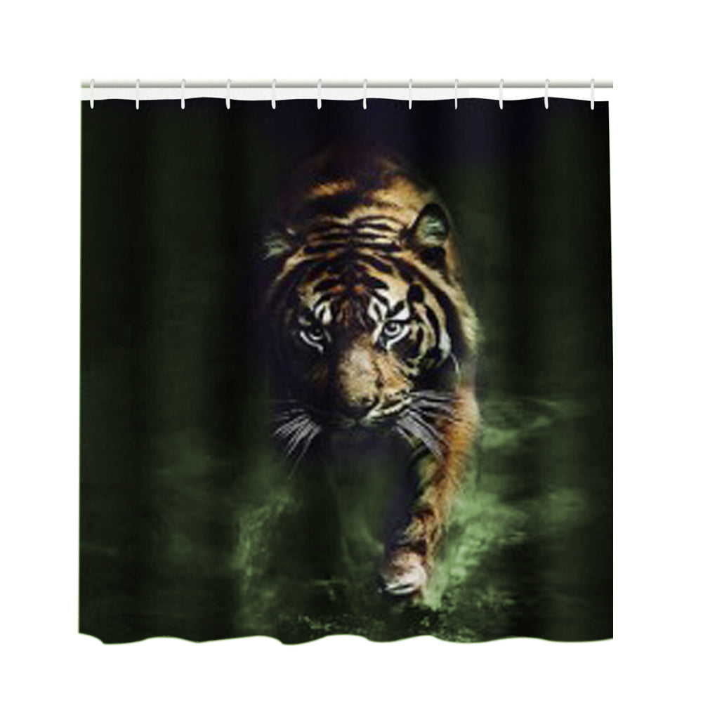 Bathrom Products 3D Tiger Pattern Shower Curtain Waterproof Large Edition Animal Printed Bathroom Bathing Curtain