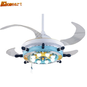 Cartoon Led Ceiling Fans Mediterranean 110V-220V Led pendant lights modern lighting fixture kids room ceiling pendant lamp